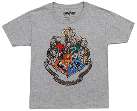 39bb4857cec HARRY POTTER Adult Hogwarts Crest T-Shirt Grey Small 34-36