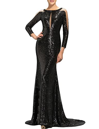 LMBRIDAL Women's Long Sequin Mermaid Evening Dress Formal Gowns with Sleeve FM01