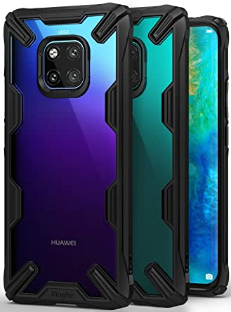 new styles e3380 2439c Ringke Fusion-X [Black] Designed for Huawei Mate 20 Pro Case Cover Clear  Dot PC Back with Rugged TPU Bumper Anti Rainbow Effect [Straps Access  Design] ...