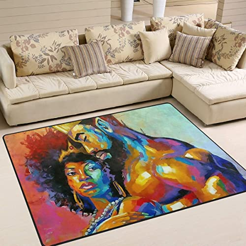 African American Lovers Couple Painting Area Rug 5'x 7'