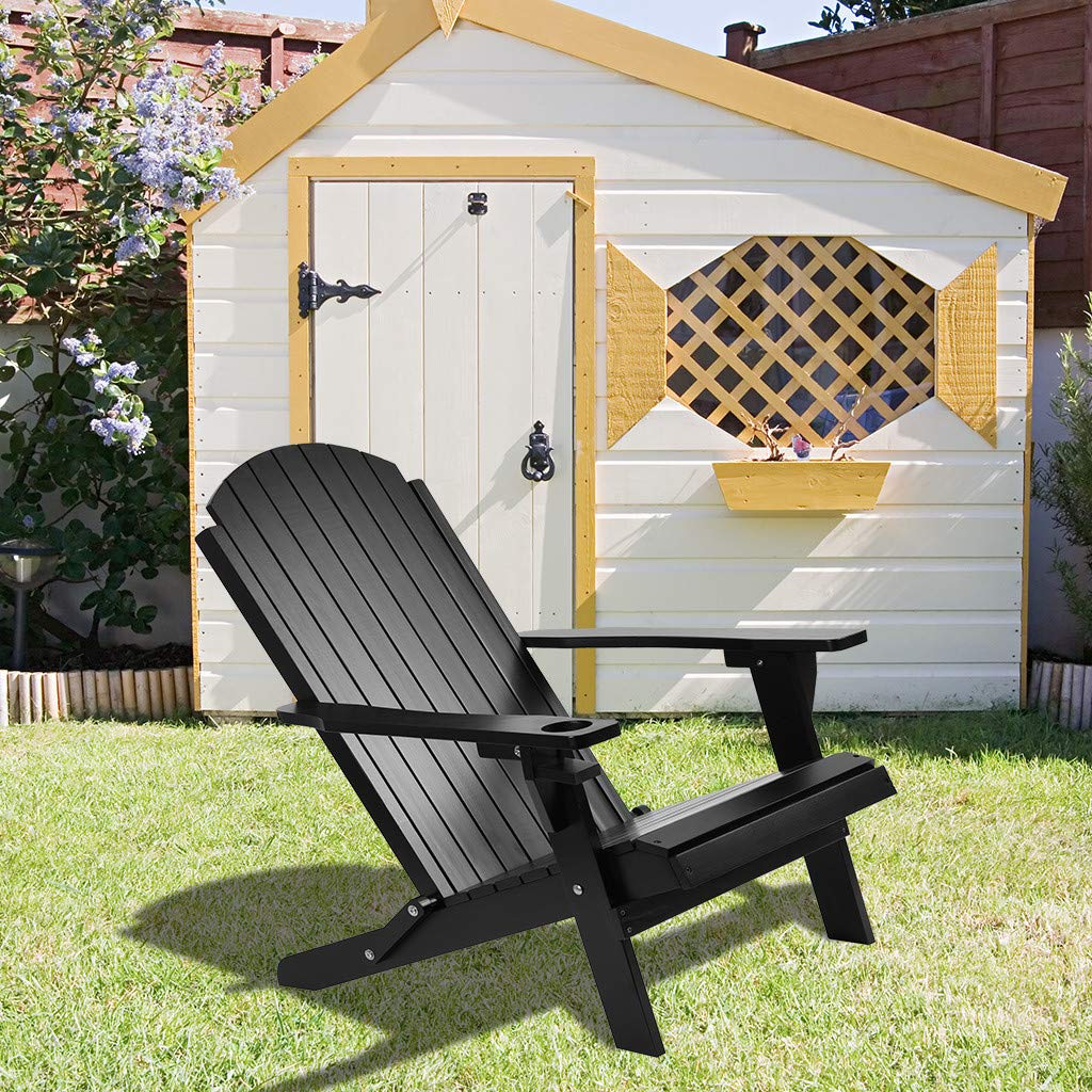Garden Brakites Foldable Wooden Adirondack Chair Outdoor Lawn Folding Wood Adirondack Lounger Chair Accent Furniture For Yard Patio Weather Resistant Patio Seating Adirondack Chairs