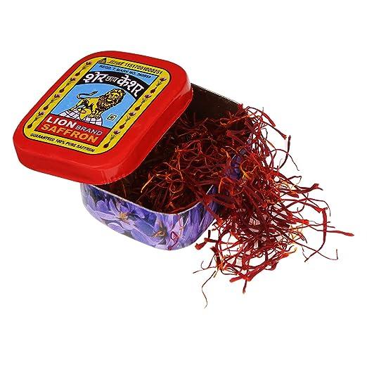 Lion Saffron, Pure Kashmir Lacha Saffron/ Kesar/ Keshar for Beauty, Cooking and Tilak- 1 gm