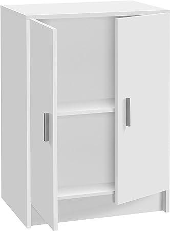 Habitdesign 005149O - Mueble Armario Multiusos bajo 2 Puertas, Color Blanco, Medidas: 59 cm (Largo) x 80 cm (Alto) x 37 cm (Fondo)