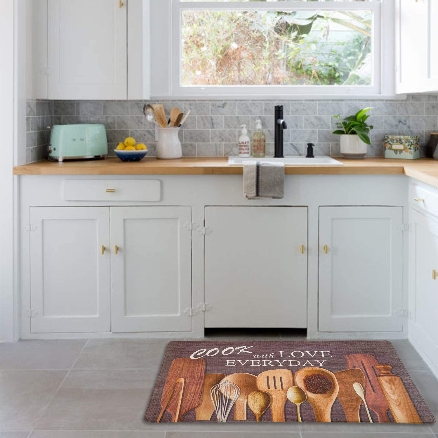 Kitchen Dining Evergrace Printing Farmhouse Rooster Anti Fatigue Floor Mat 18 X 30 Durable Stain Resistant Cushioned Standing Comfort With Non Slip Bottom Utensils Gadgets