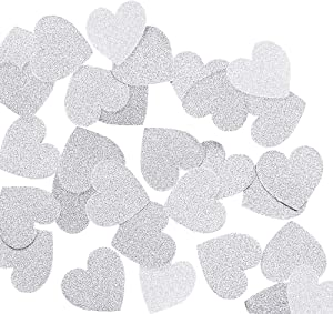 """Aonor 2 Packs Glitter Hearts Confetti for Table Decor, Bridal Shower, Wedding Party Decorations, Silver, 1.2"""" in Diameter, Total 400pcs"""