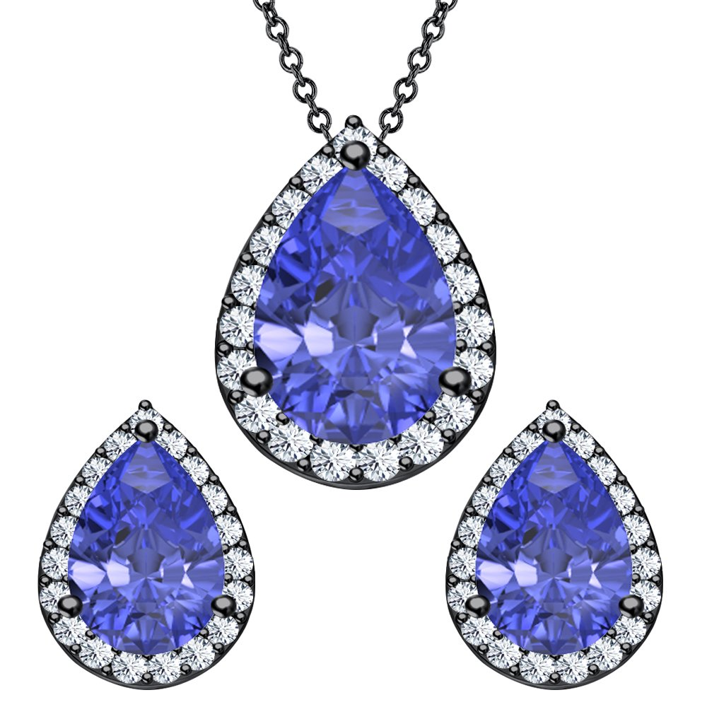 Tanzanite Pair Shaped Set.Earrings /& Necklace .925 Sterling Silver