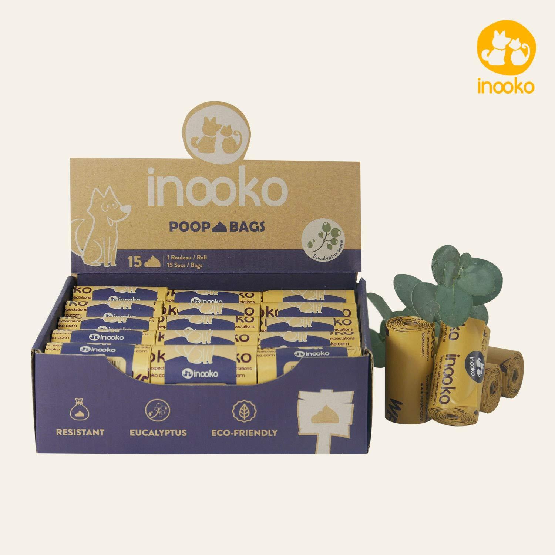 inooko - 450 Sacs a Crottes pour Chien, Grand, Ultra Résistant, Biodégradables et Parfumés à l'Eucalyptus, 30 Rouleaux (Soit 450 Sacs)