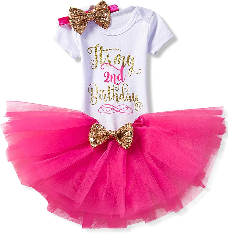 TTYAOVO Bambina 1 /° Compleanno Principessa Tutu Gonna Vestiti 3 Pezzi Set Abiti Pagliaccetto Gonna Fascia 4-24 Mesi + Leggings