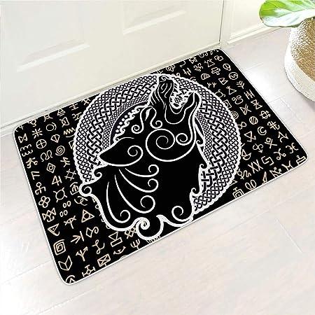 WuJin-Mat - Felpudo de Fibra de Coco con diseño de Lobo Vikingo, para casa y jardín, Blanco, 24x35 Inch: Amazon.es: Hogar