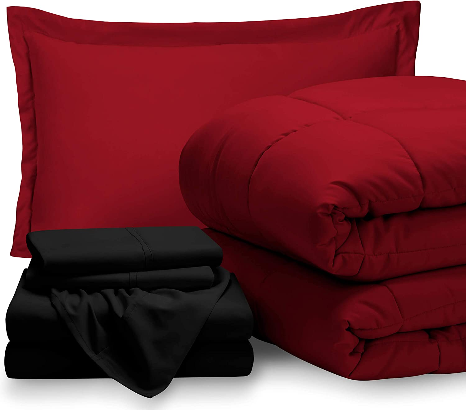 Bare Home Bed-in-A-Bag 5 Piece Comforter & Sheet Set - Twin Extra Long - Goose Down Alternative - Ultra-Soft 1800 Premium - Hypoallergenic - Breathable Bedding Set (Twin XL, Red/Black)
