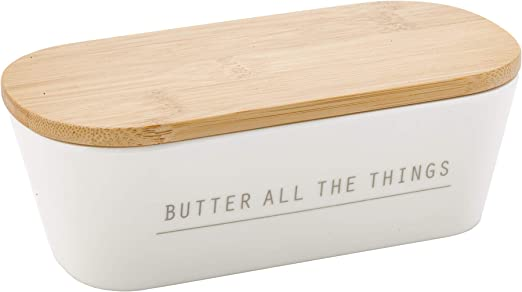 Tablecraft 700002 Butter Dish with Lid 7.75 x 3.25 x 2.5 Melmine