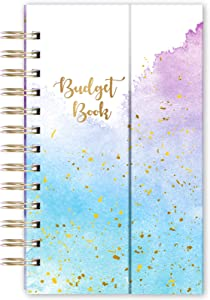 """Budget Planner - Monthly Budget Book and Expense Tracker, 5.3"""" x 7.6"""", Portable Budget Planner with Watercolor Pockets + Thick Paper + Magnetic, Twin-Wire Binding - Watercolor Ink"""