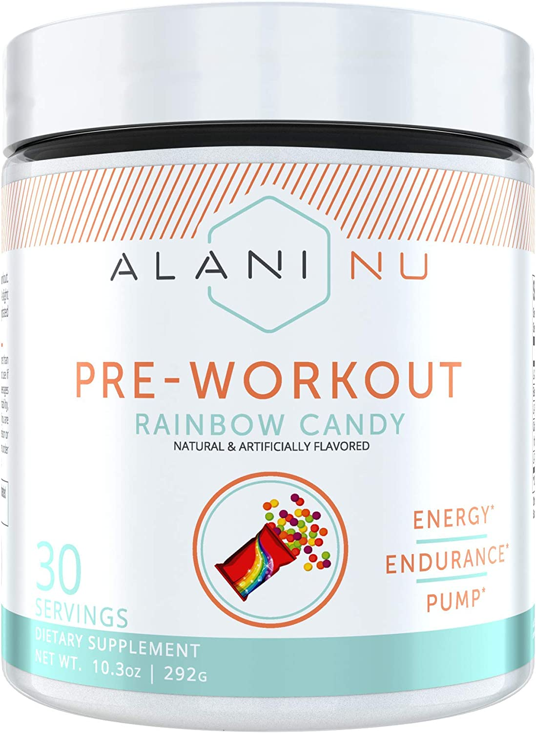 Alani Nu Pre-Workout Supplement Powder for Energy, Endurance, and Pump, Rainbow Candy, 30 Servings