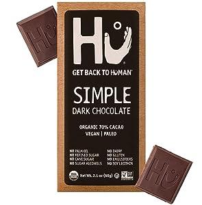 Hu Chocolate Bars | 4 Pack Simple Chocolate | Natural Organic Vegan, Gluten Free, Paleo, Non GMO, Fair Trade Dark Chocolate | 2.1oz Each