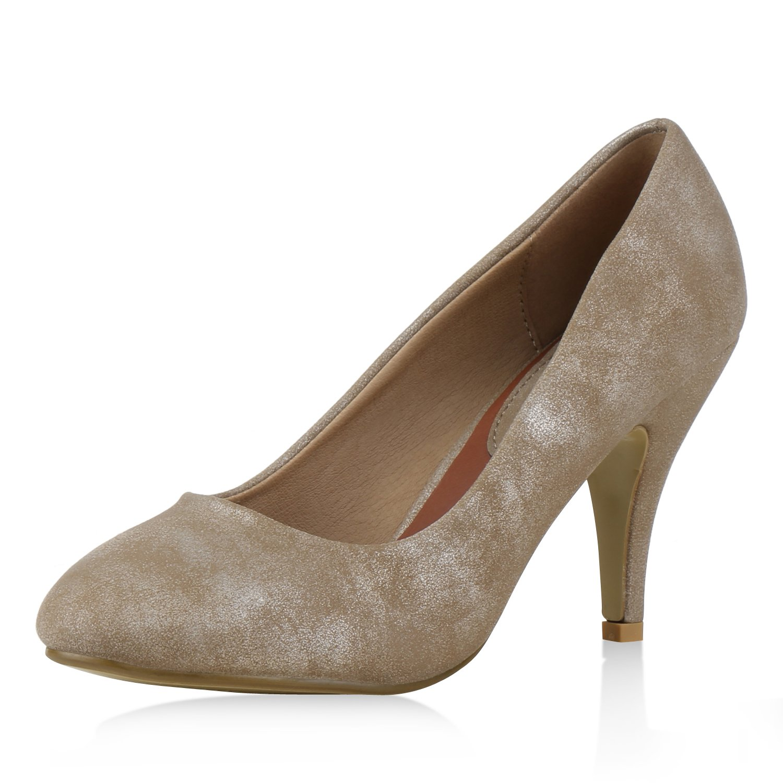 napoli-fashion Klassische Damen Pumps Strass Glitzer Party Schuhe Stiletto Mid Heels Metallic Hochzeit Abendschuhe Abiball Jennika Khaki