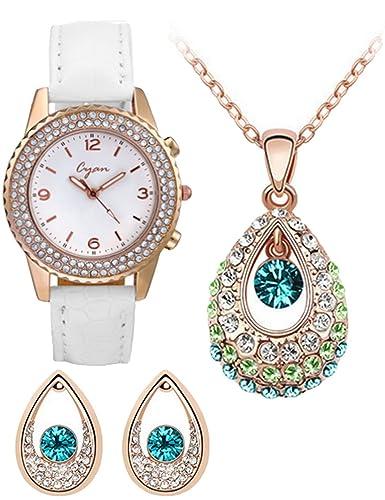 Buy cyan angel teardrop crystal pendant set with crystal studded cyan angel teardrop crystal pendant set with crystal studded watch aloadofball Image collections