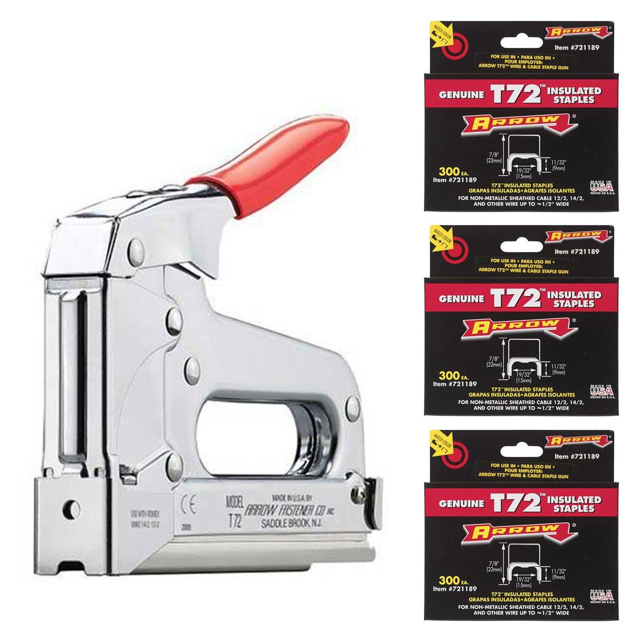Arrow Fastener T72 Wire/Cable Staple Gun, (900) 721189 T72 7/8 ...