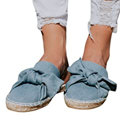63cd32c97 Syktkmx Womens Flat Espadrille Mules Closed Toe Bow Tie Slip on Backless  Slide Loafers - Casual Women s Shoes