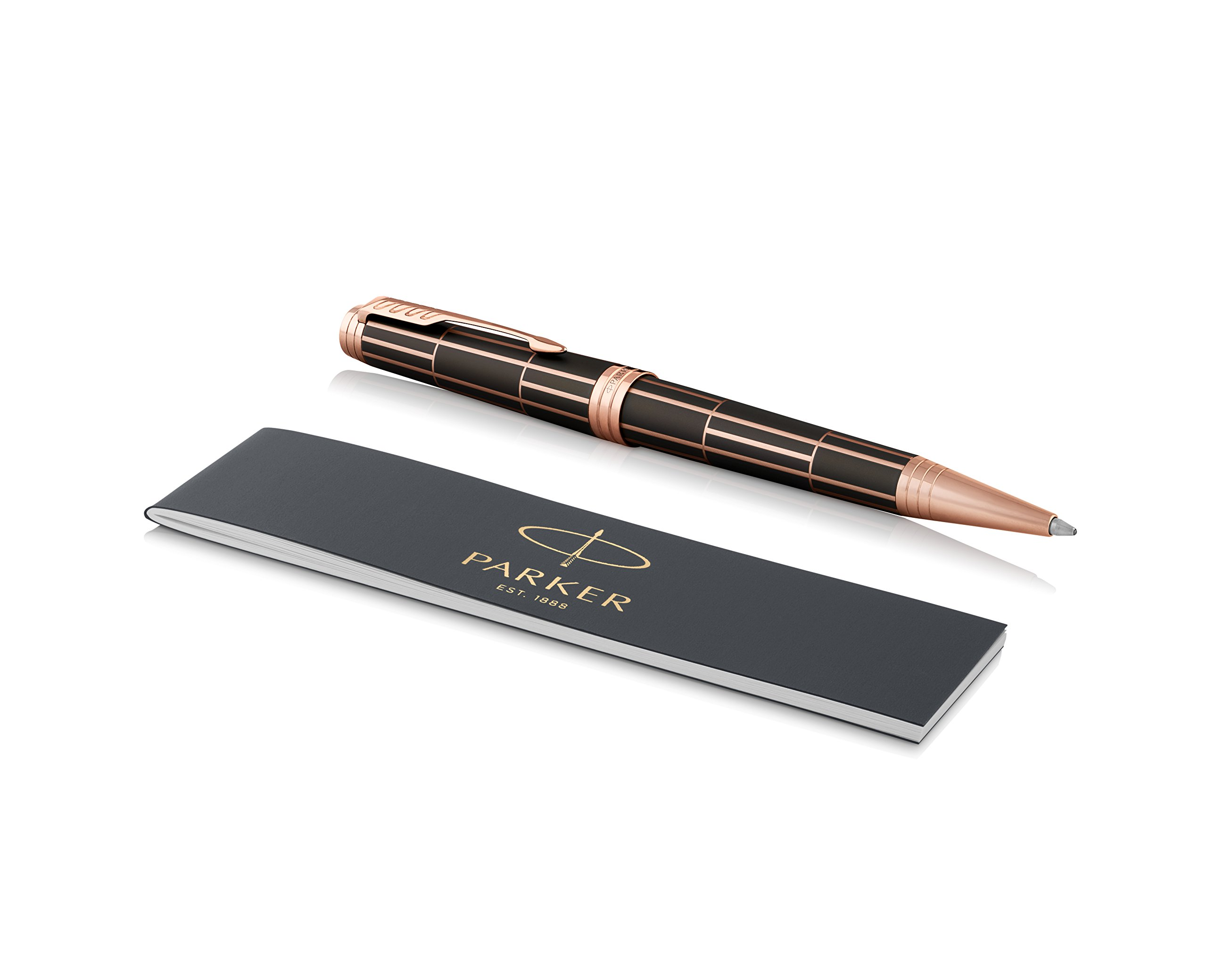 PARKER Premier Ballpoint Pen, Luxury Brown with Pink Gold Trim, Medium Point Black Ink Refill