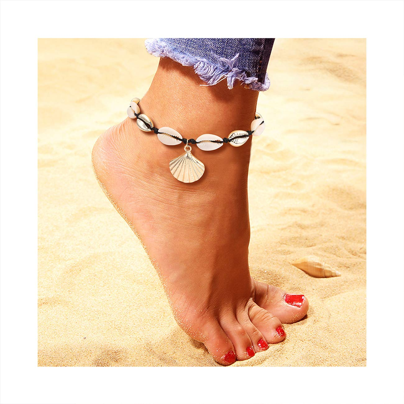 05765c9e61413 YINL Shell Anklets – Natural Cowrie Beads Seashell Charm Surfer Anklet  Bracelet Handmade Boho Beach Foot Hawaii Jewelry for Women Girls