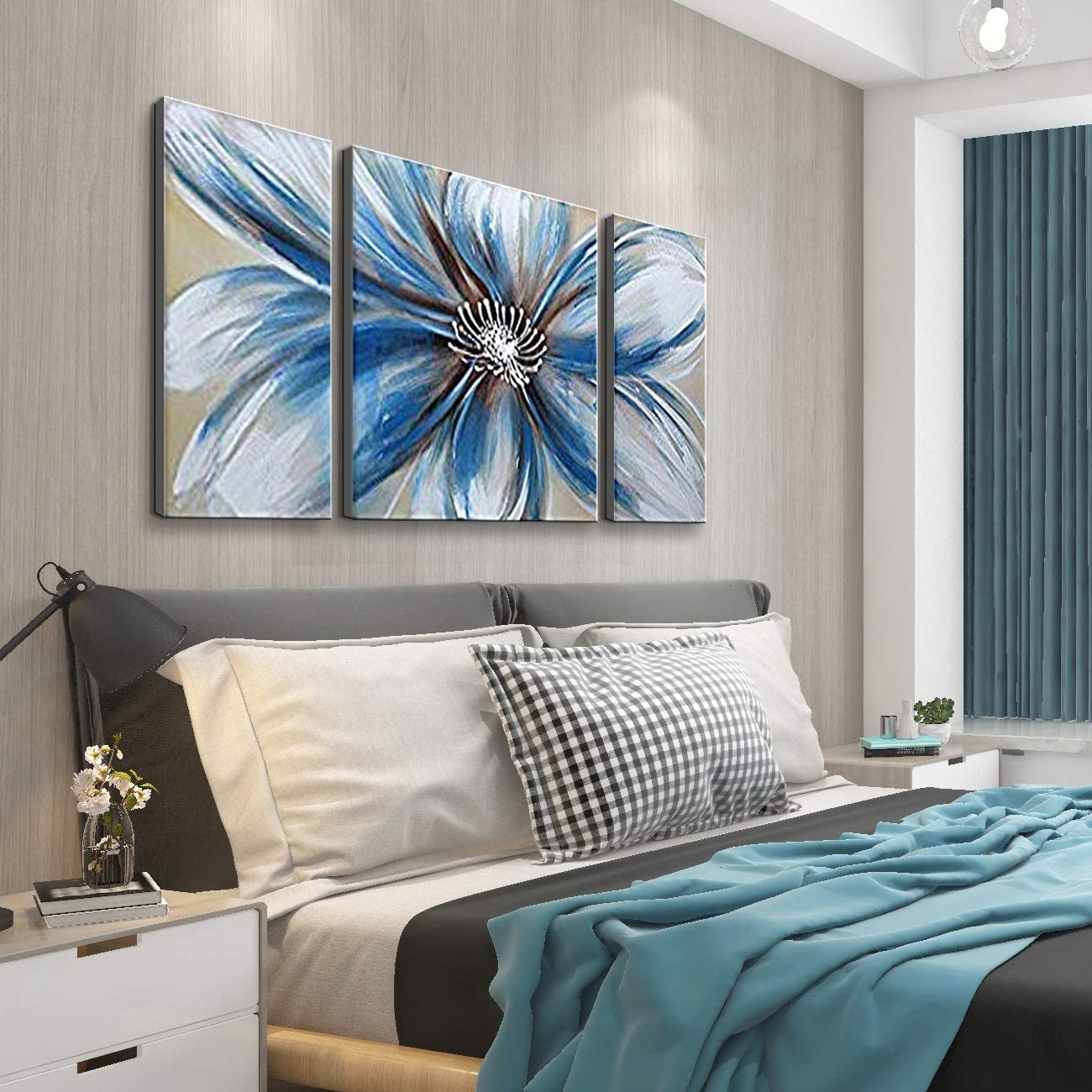 Flower Oil Painting on Canvas Modern 100 Hand Painted Blue Heart 3-Piece Gallery-Wrapped Framed Blue and White Wall Art Ready to Hang for Living Room for Wall Decor Home Decoration 20×40 inches