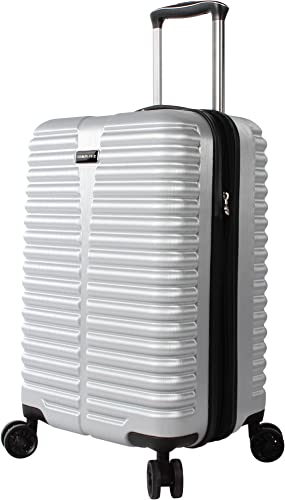 Ciao Durable 20 Inch Carry On Bag – Scratch Resistant 100 Polycarbonate Suitcase – Lightweight Expandable Luggage With 8-Rolling Spinner Wheels 20in, Silver