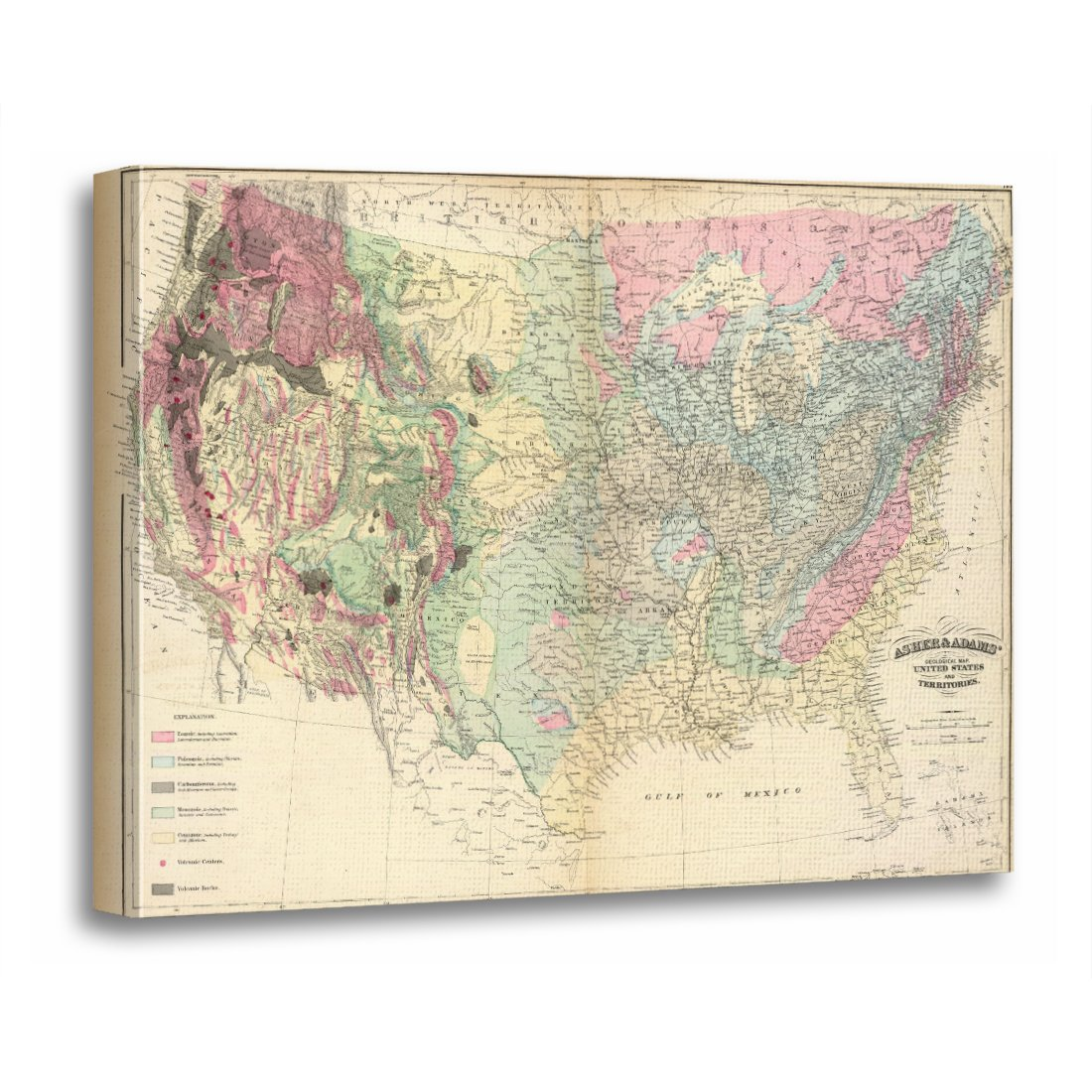Amazon.com: TORASS Canvas Wall Art Print Geology Us Geological Map ...