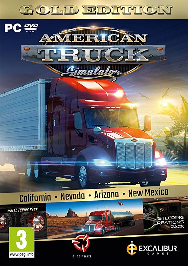 American Truck Simulator Gold (New Mexico DLC/Wheel Turning/Steering Creations) (PC DVD) (New): Amazon.es: Videojuegos