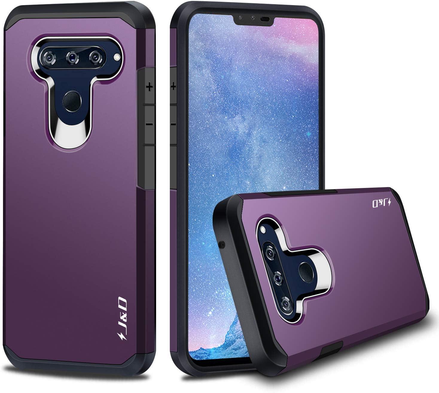 J&D Case Compatible for LG V40 ThinQ Case/LG V40 Case, Heavy Duty [Dual Layer] Hybrid Shock Proof Protective Rugged Bumper Case for LG V40 ThinQ, LG V40 Case - Purple