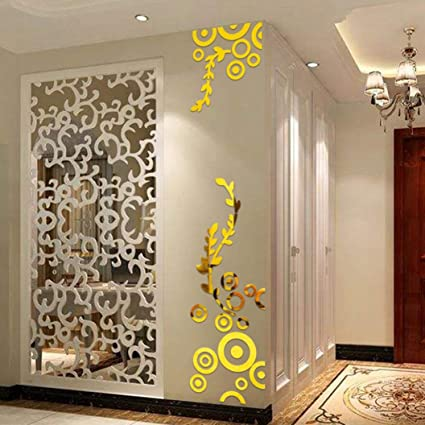 Sinohomie 2018 Acrylic Mirror Wall Stickers Circle Ring 3D Home Room Decor Decals Reflective Gold