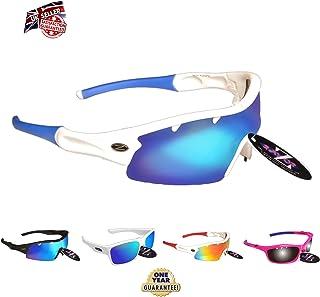 Rayzor professionali leggeri UV400 Bianco Sport Wrap Grillo da sole, con un obiettivo rispecchiato Blu Iridium. RI220WTBL-CR