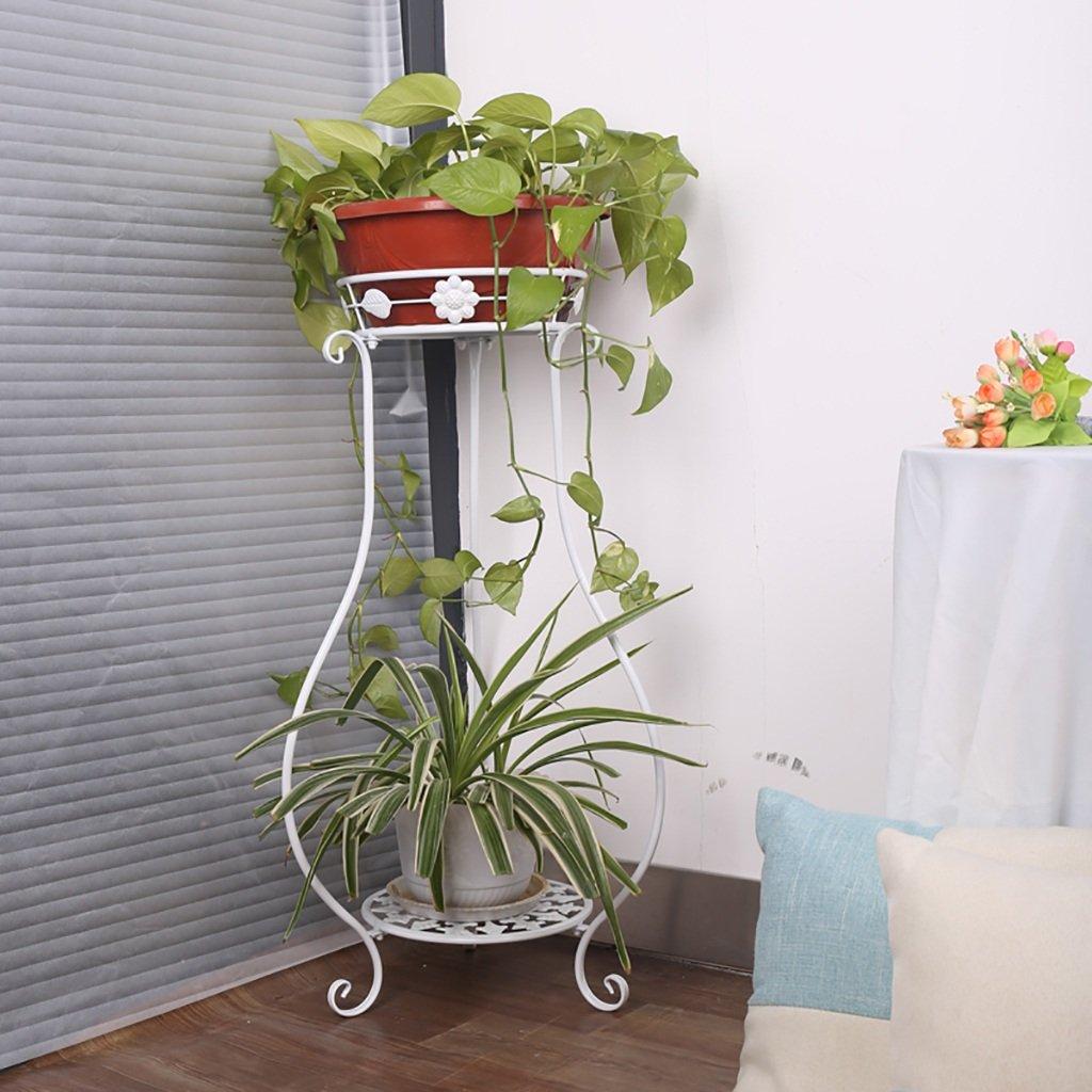 LWJJHJ Stand di Piante Verdi 2 Livelli di Metallo Decorativo con Pergamena di Scorrimento piantine per vasi da Fiori Interni con ripiano portaoggetti 2 vasi di Fiori (Dimensioni   B1)