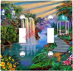 Stainless Steel American Switch Panel Double Holes,Nature Waterfall Beautiful Garden Double Light Switch Wall Plate Switch Plate Outlet Cover Wall Decorations