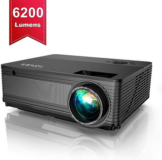 Proyector,YABER 6200 Lúmenes Proyector Full HD 1920x1080P Nativo Soporta Vídeo 4K,Proyector Cine en Casa Pantalla 300