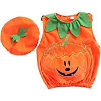 Baby Boy Girl Halloween Costume Sleeveless Orange Pumpkin Vest Top Outfit with Cap for Halloween