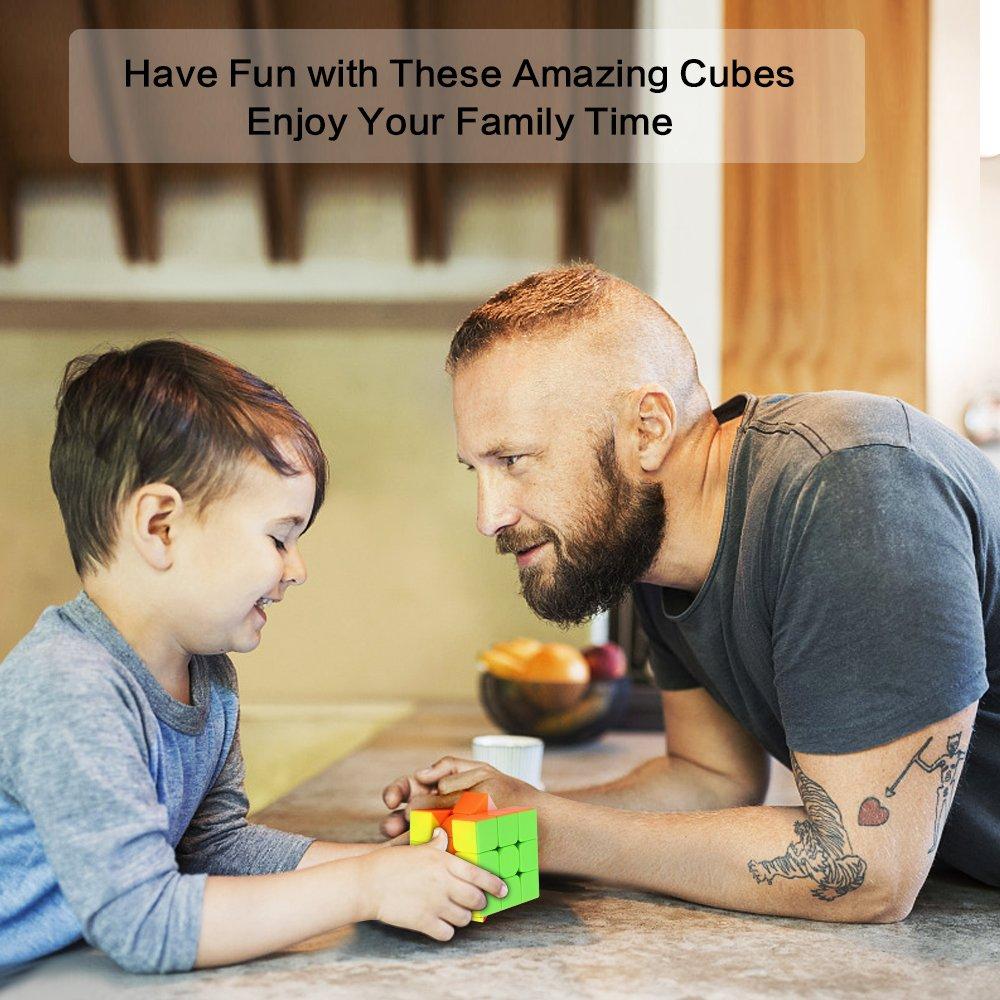 Magic Cube Set of 2x2x2 3x3x3 Speed Cube Smooth Puzzle Cube Transparent Black Roxenda Speed Cube Set