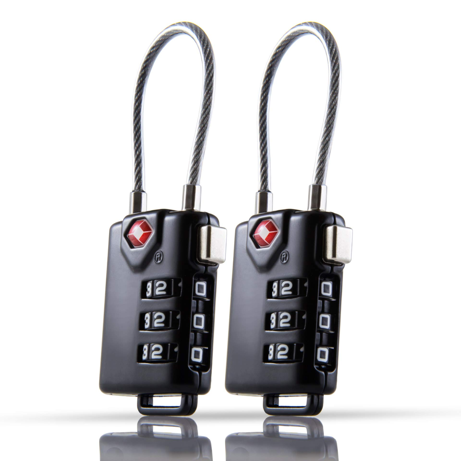TSA Approved Travel Luggage Locks - Small Combination Cable Lock for Suitcase, Baggage or Backpack Zipper (2-Pack)