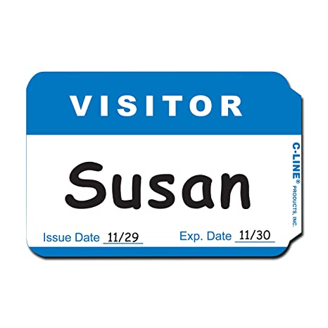 C-Line Self-Adhesive Name Badges, 2 x 3-1/2, Blue, 100/Box (92245)