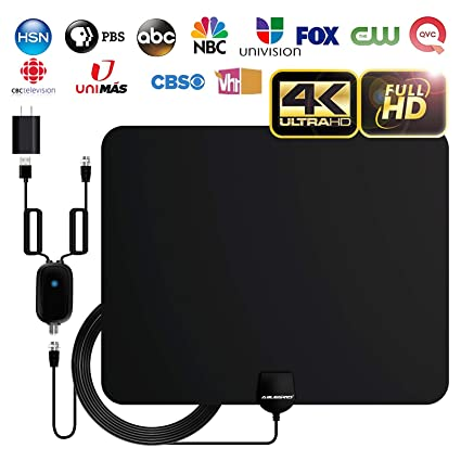 [2019 Newest] ABLEGRID Digital Amplified Indoor HD TV Antenna 60-85 Miles  Range, Amplifier Signal Booster Support 4K 1080P UHF VHF and All Older