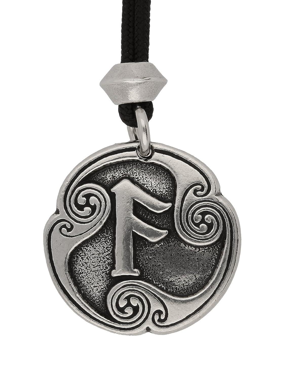 UNYKTOUCH Ansuz Rune of Communication 4th Runic Letter Pewter Pendant on Black Cord