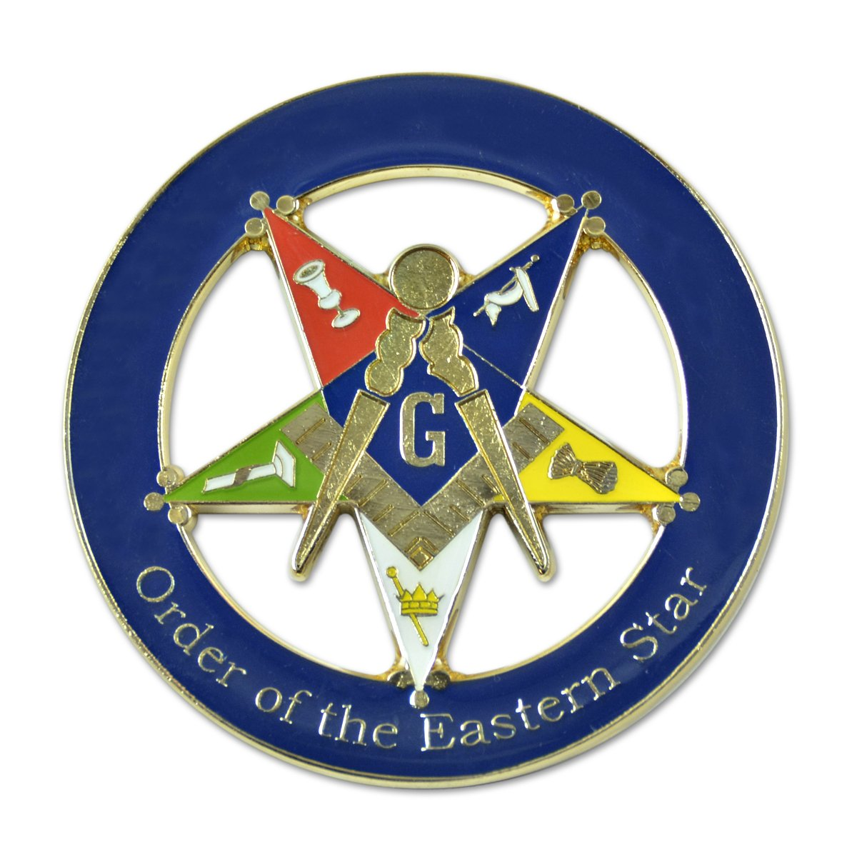 Amazon com patron order of the eastern star round blue masonic auto emblem 3 diameter automotive