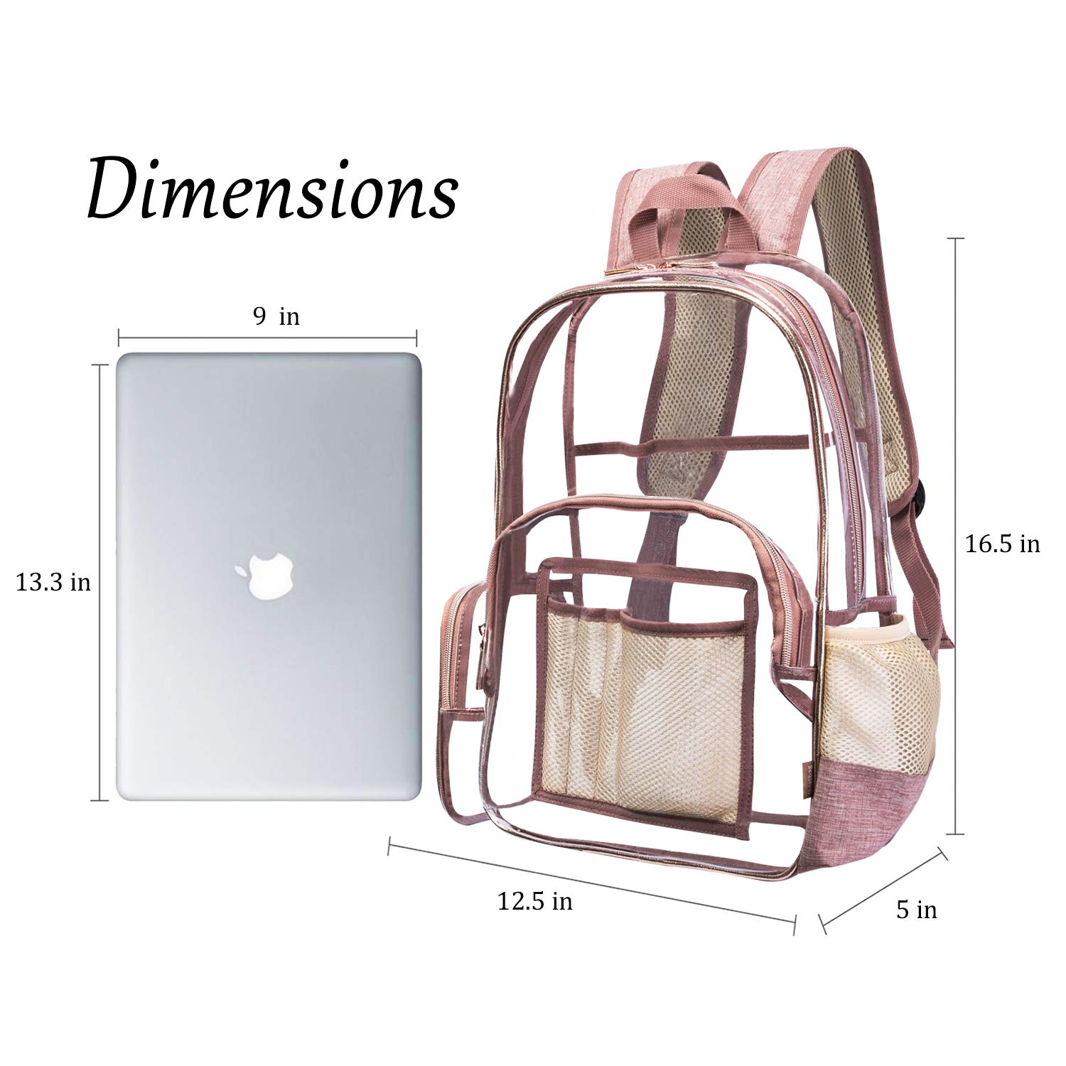 NiceEbag Clear Backpack with Cosmetic Bag & Case, Clear Transparent PVC Multi-pockets School Backpack Outdoor Bookbag Travel Makeup Quart Luggage Pouch Organizer Fit 15.6 Inch Laptop (Rose Gold) by NiceEbag (Image #6)