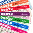 OOOZU Multipack - 11 Lightweight Language Cards - Essential Travel Words And Phrases In Spanish, Italian, French, German, Portuguese, Greek, Turkish, Dutch, Japanese, Polish and Czech
