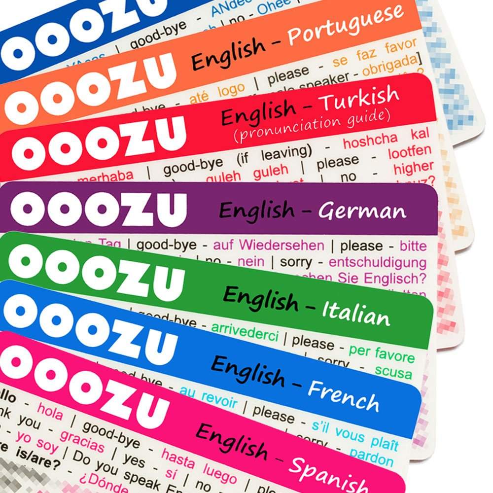 OOOZU Multipack - 11 Lightweight Language Cards - Essential Travel Words  And Phrases In Spanish, Italian, French, German, Portuguese, Greek,  Turkish, Dutch, ...