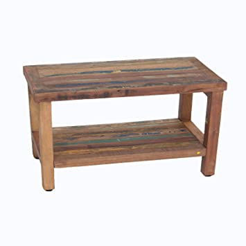 Reclaimed Salvaged Rustic Recycled 29u0026quot; Boat Wood Bench  Indoor Outdoor  Bench