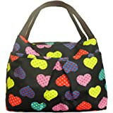ZXKE Colorful Love Hearts and Candies Print Women Handbags Lunch Bag Tote (Colorful Love Hearts)
