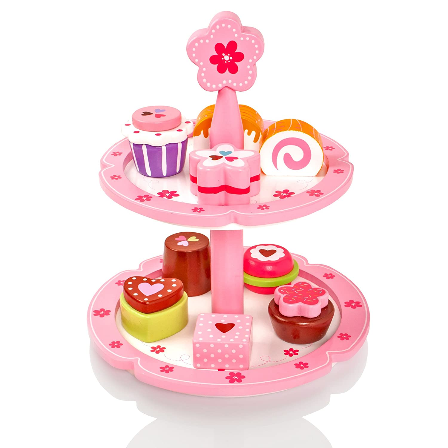 Milly Ted Wooden Cupcake Stand 9 Cakes Set Childrens Wood Playfood Toy Kids Pretend Play Food