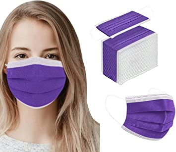 Disposable Mask Dust Proof for Women & Men Face Safety Protection Masks Cover 50pcs Purple