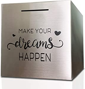 Piggy Bank Made of Stainless Steel, Piggy Banks for Adults Coin Bank ,Can Only Save The Piggy Bank That Cannot be Taken Out (7.8