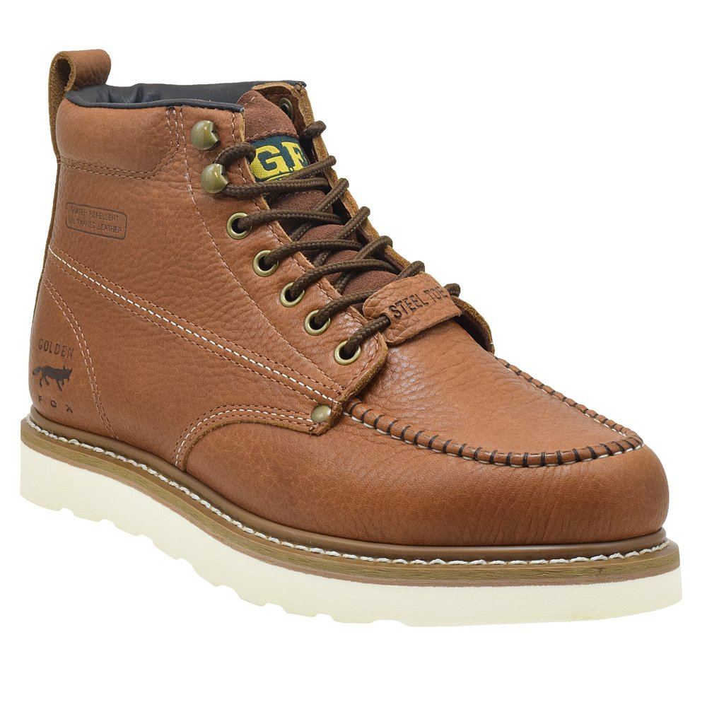Golden Fox Steel Toe Work Boots Men's 6'' Moc Toe Wedge Comfortable Boots for Construction Size 10.5
